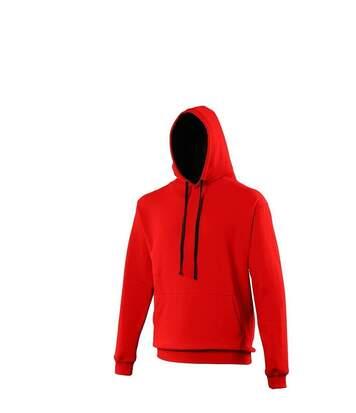 Sweat à capuche contrastée unisexe - JH003 - rouge et noir