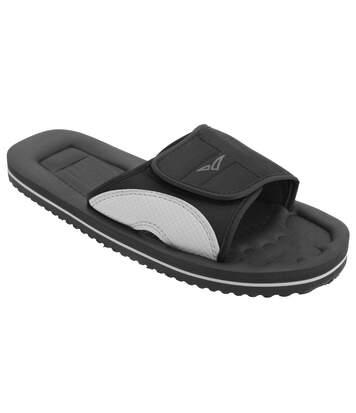 PDQ Mens Surfer Touch Fastening Beach Mule Pool Shoes (Black/Grey) - UTDF615