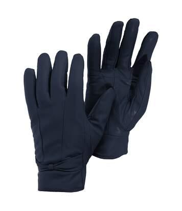 Womens/Ladies Plain Leather Gloves (Navy) - UTGL309