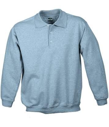 Sweat-shirt col polo - homme - JN041 - gris chiné