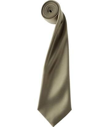 Cravate satin unie - PR750 - marron clair