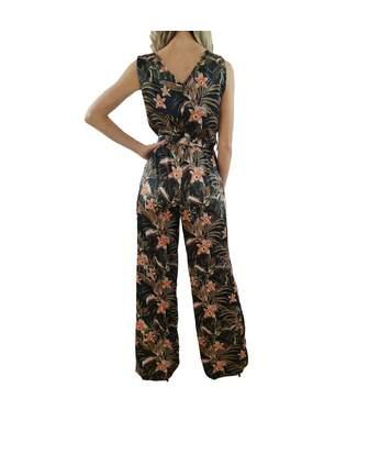 PAOLA SORMANI combinaison fleurs, ceinture, sans manches, élégant, col en V multicolore