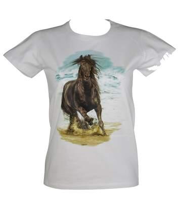 T-shirt femme manches courtes - cheval 3298 - blanc