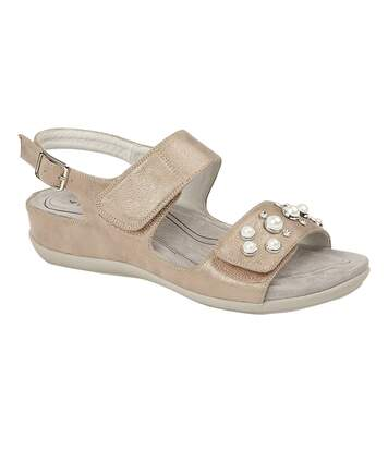 Boulevard Womens/Ladies Twin Touch Fastening Sandals (Stone Shimmer) - UTDF1574