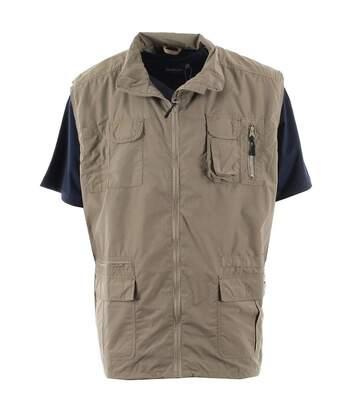 Duke Mens Enzo Kingsize Multi Pocket Hunting Waistcoat (Walnut) - UTDC200