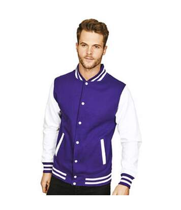 Casual Classic Mens Varsity Jacket (Purple/White) - UTAB454