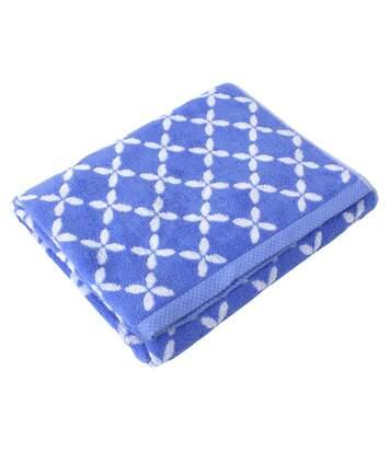 Drap de douche 70x140 cm SHIBORI floral Bleu 100% coton 500 g/m2