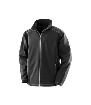 Result Work-Guard Mens Treble Stitch Soft Shell Jacket (Black) - UTPC3674