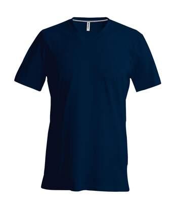 Kariban Mens Short Sleeve V Neck Slim Fit T-Shirt (Navy) - UTRW707