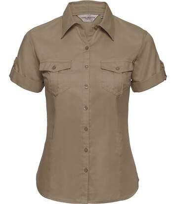 chemise manches courtes retroussables - R-919F-0 - beige - femme