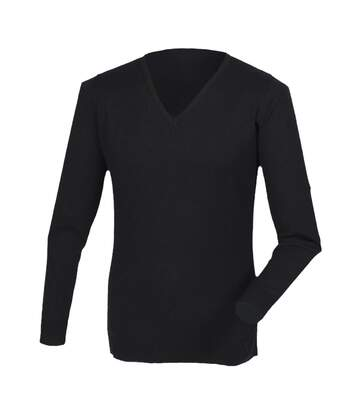 Henbury Mens Cashmere Touch Acrylic V-Neck Jumper / Knitwear (Black) - UTRW2702