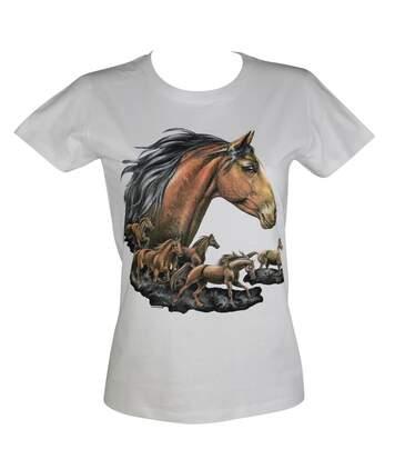 T-shirt femme manches courtes - chevaux 9171 - blanc