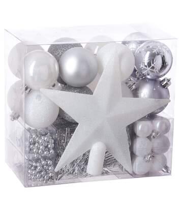 Kit déco pour sapin de Noël - 44 Pièces - Blanc et gris