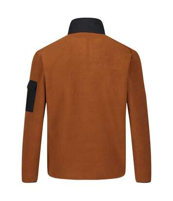 Regatta Mens Cormac Heavyweight Button Neck Fleece Sweater (Tan/Black) - UTRG4600
