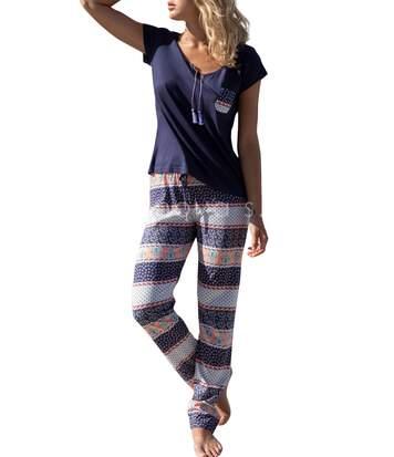 Tenue d'intérieur pyjama pantalon t-shirt Blue Valance marine Admas