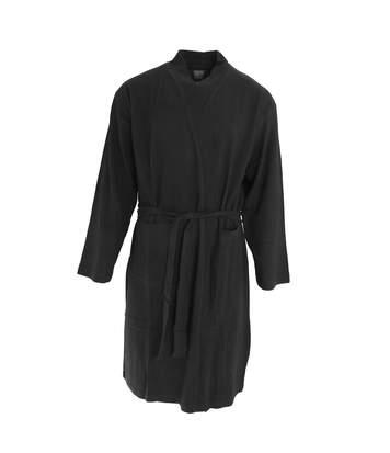 Foxbury Mens Waffle Texture Cotton Dressing Gown/Robe (Black) - UTN1055