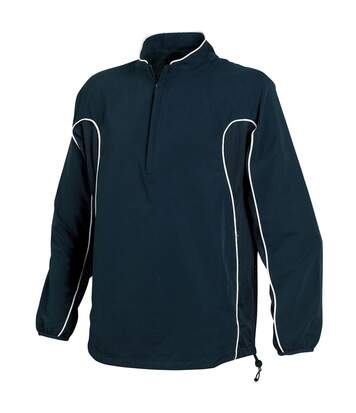 Tombo Teamsport Mens Half Zip Unlined Sports Training Top (Navy/Navy/White Piping) - UTRW1526