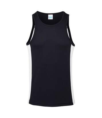 AWDis Just Cool Mens Contrast Panel Sports Vest Top (French Navy/Arctic White) - UTRW3476