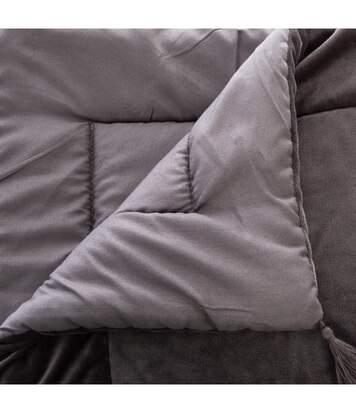 Atmosphera - Edredon couverture en Velours Gris 80 x 180 cm