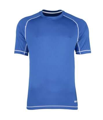 Rhino - T-Shirt Sport À Manches Courtes - Homme (Bleu roi/Surpiqûres blanches) - UTRW1286