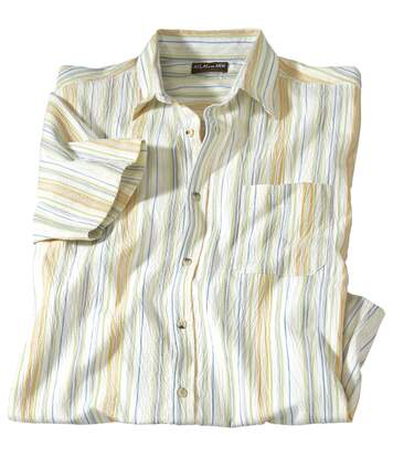 Men's Ecru Striped Crepon Shirt
