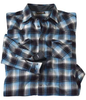 Men's Black & Blue Montana Checked Flannel Shirt