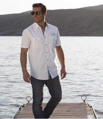 Men's White Aviator Style Shirt