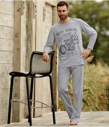 Men's Grey Biker Print Pyjamas
