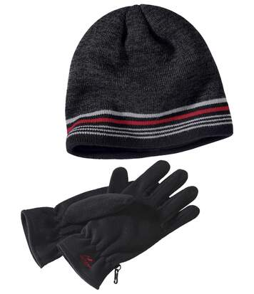 Men's Warm Outdoor Hat + Gloves Set - Anthracite