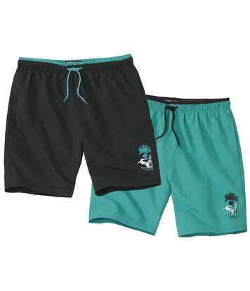 Pack of 2 Men's Swim Shorts - Black Green