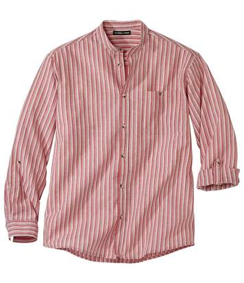 Men's Mandarin Collar Shirt - Coral