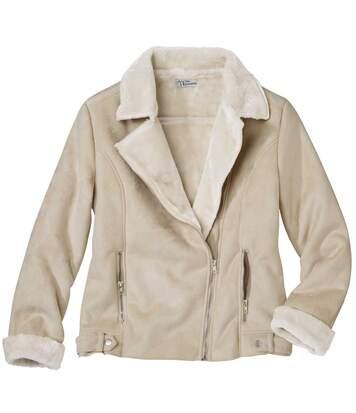 Semišová bunda podšitáumělou kožešinou