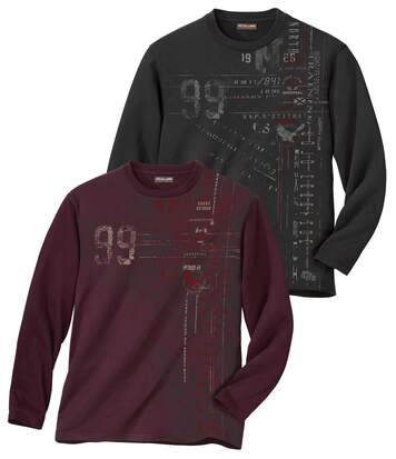 Men's Pack of 2 T-Shirts - Plum Dark Grey