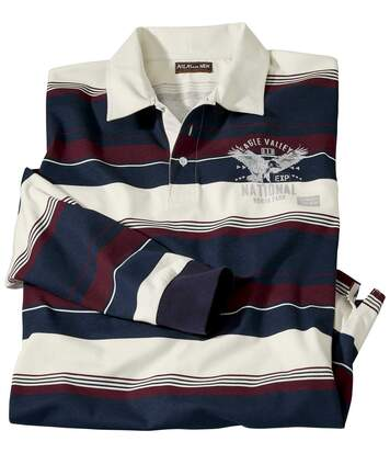 Men's Eagle Print Rugby Polo Shirt