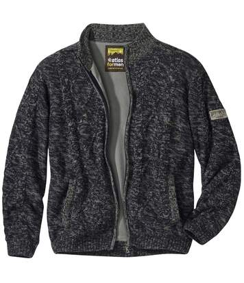 Men's Fleece-Lined Knitted Jacket - Dark Grey Marl