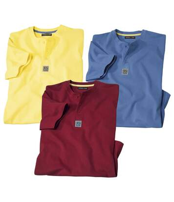 Pack of 3 Men's Desert Expedition T-Shirts - Red Yellow Blue