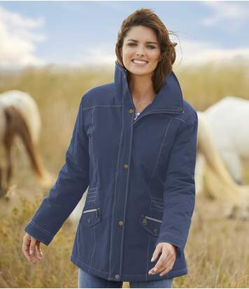 Women's Quilted Mid-Season Parka - Navy