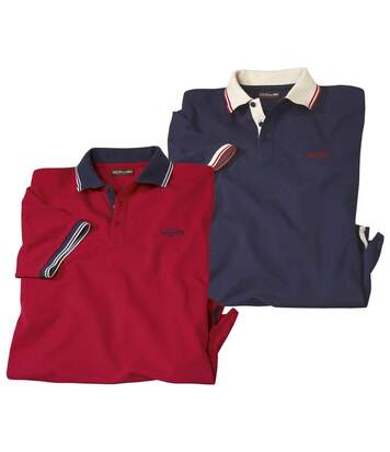 Pack of 2 Men's Piqué Cotton Polo Shirts - Navy, Red