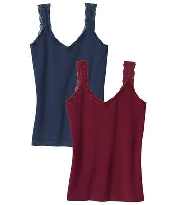 Women's Pack of 2 Stretch Lace Vest Tops