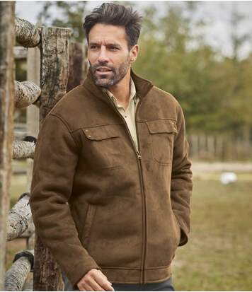 Men's Sherpa-Lined Faux-Suede Jacket - Water-Repellent - Full Zip - Camel