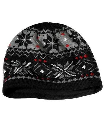 Men's Black Knitted Jacquard Hat