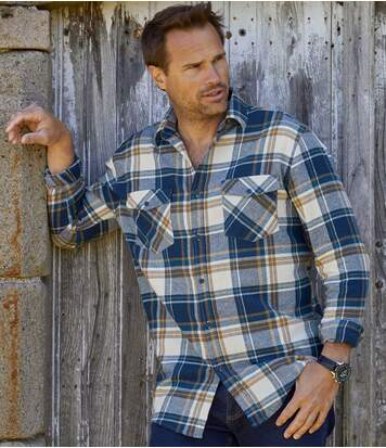 Men's Countryside Checked Flannel Shirt - Navy Ochre