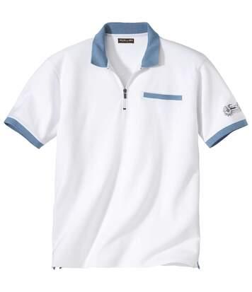 Zweifarbiges Poloshirt mit RV-Kragen