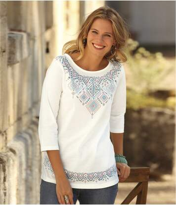 Women's Ecru Aztec Print Top - Three Quarter Sleeves