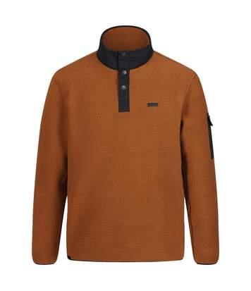 Regatta Mens Cormac Heavyweight Button Neck Fleece Sweater (Tan/Black) - UTRG4600