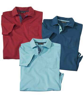 Pack of 3 Men's Jersey Polo Shirts - Turquoise Red Blue