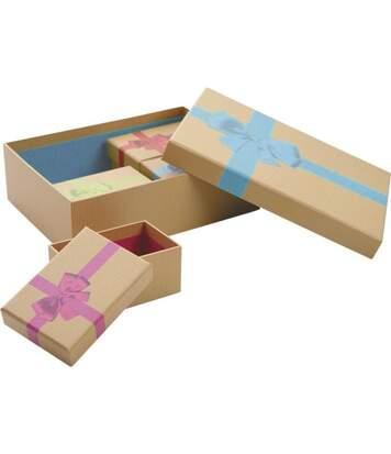 Boites de Noel avec noeud en carton (Lot de 5)
