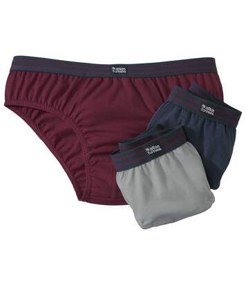 Pack of 3 Men's Classic Cotton Briefs - Navy Burgundy Grey