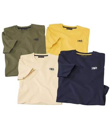 Pack of 4 Men's Adventure T-Shirts - Blue Beige Yellow Khaki