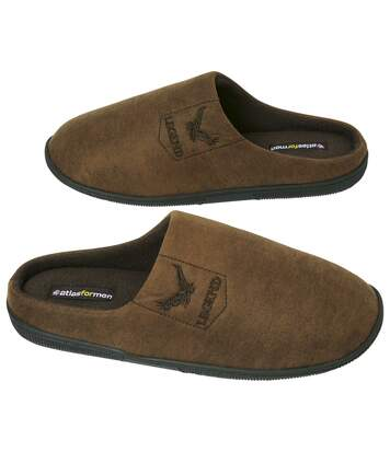 Men's Brown Faux Suede Slippers